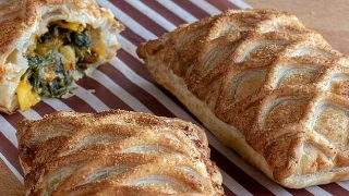 vegan savouries: saag aloo lattice