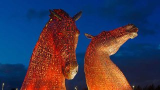 The Kelpies glow orange
