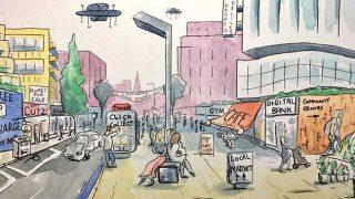 Futuristic high street