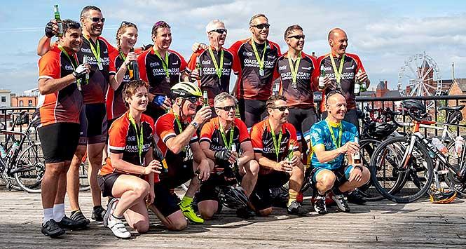 Coast to Coast GroceryAid cyclists