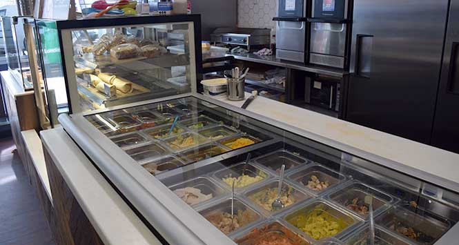 A huge array of freshly-prepared fillings offer choice to customers.