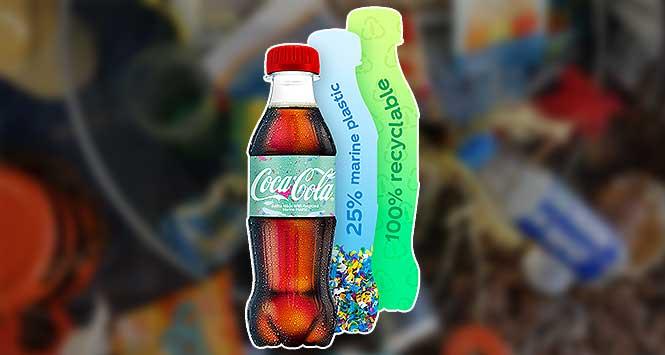 Coke bottle made from marine plastic