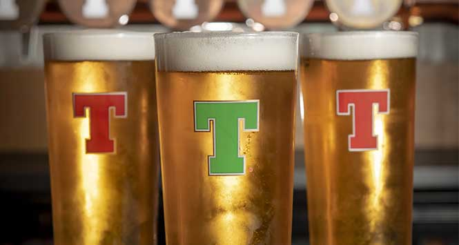 Pint of Tennent's with a green T