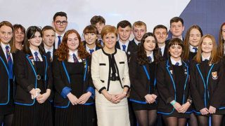 Nicola Sturgeon and schoolchildren
