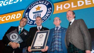 Guinness World Records Adjudicator Jack Brockbank, Scotmid Chief Executive John Brodie, Scotmid President Harry Cairney and Fred McAulay.
