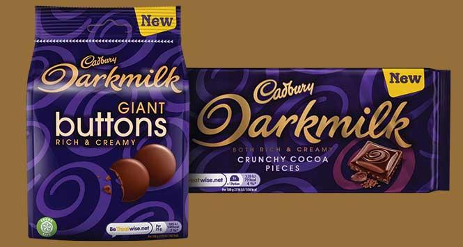 Cadbury Darkmilk Giant Buttons and Cadbury Darkmilk with Crunchy Cocoa Pieces