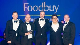 Ian Murphy, Managing Director of Foodbuy, Bill Randles, Business Development Director at CSG, Sean Russell, Marketing Director at CSG, Comedian Michael McIntyre, Mark Dew, CSG National Account Manager for Compass Group