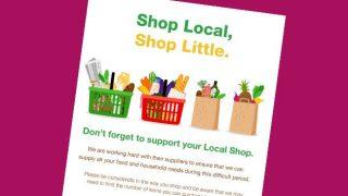 'shop local, shop little' poster