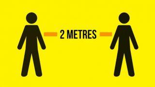 People 2 metres apart