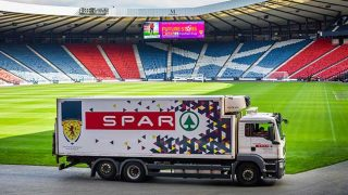 Spar lorry inside Hampden