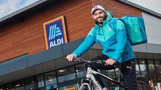 Deliveroo rider outside Aldi