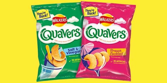 Quavers Prawn Cocktail and Salt & Vinegar flavours