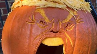 Pumpkin carved to look like Donald Trump