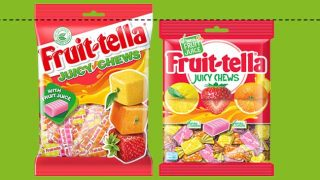 Old and new Fruittella packs