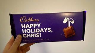 'Happy Holidays Chris' chocolate bar