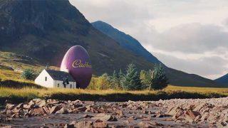 Giant Cadbury egg beside a cottage in Glencoe
