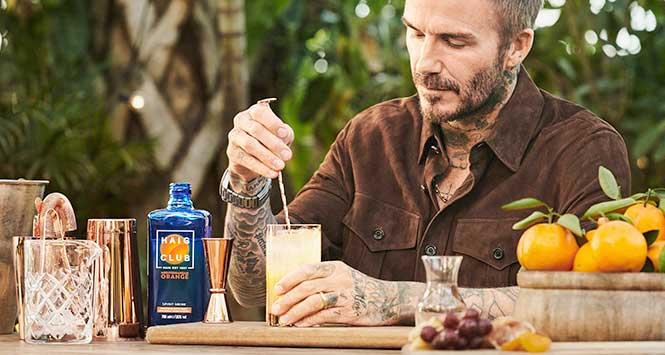 David Beckham drinking Haig Club Mediterranean Orange