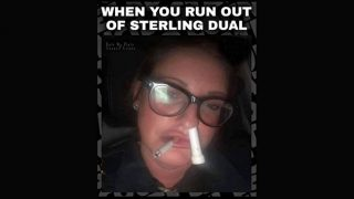 Woman smoking cigarette with menthol inhaler up one nostril
