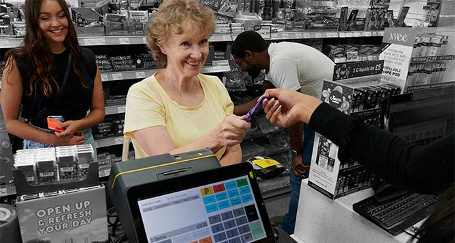 Smiling customer