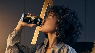 Woman drinking Rockstar