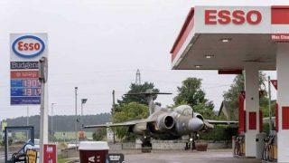 Petrol station with fighter jet adjacent