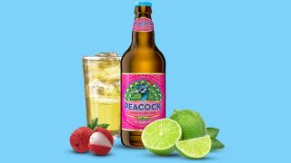 Peacock lychee and lime cider